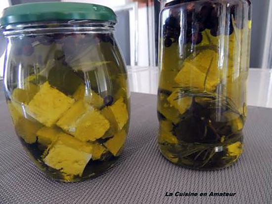 recette Feta aux baies de genévrier marinée dans l'huile d'olive