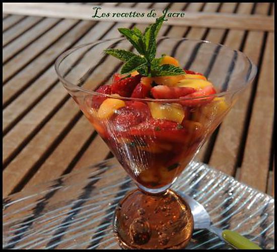 recette salade de fraises et mangues au sirop de miel d'oranger