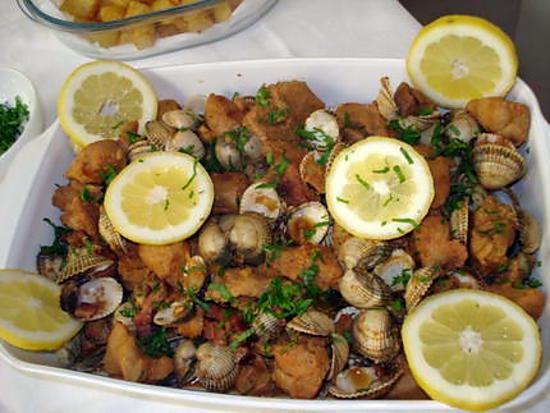 recette carne de porc alentejana(emincé de porc aux coques)recette portugaise