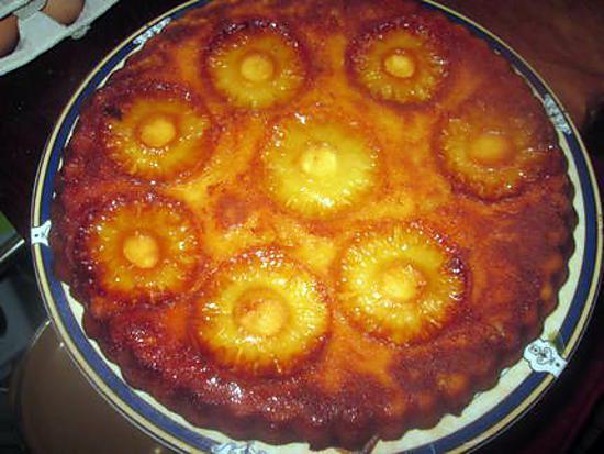 recette gateau ananas,   poires ,caramélisés