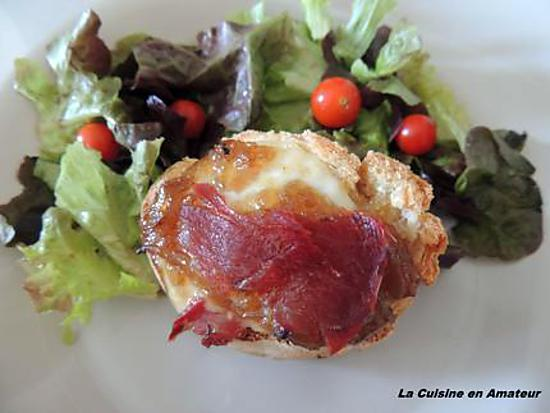 recette Bruschetta confit d'oignon, mozzarella et coppa