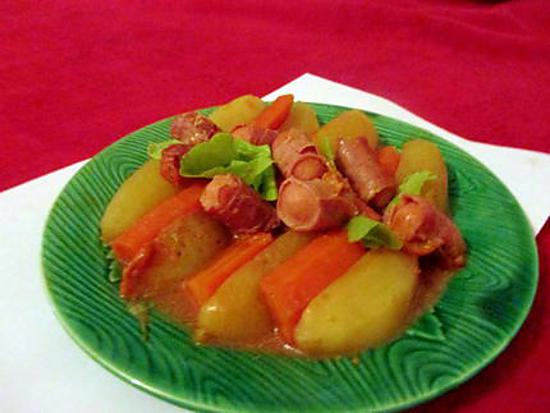 recette Ragout de knackies au jambon cru (clin d'oeil Amour de cuisine)
