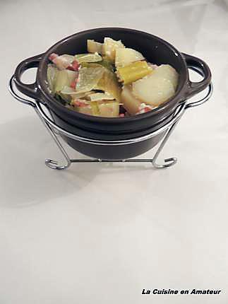 recette Gratin pommes de terre, poireaux et lardons