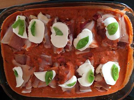 Recette D Escalope De Poulet Au Jambon De Bayonne Et Sauce Tomate A