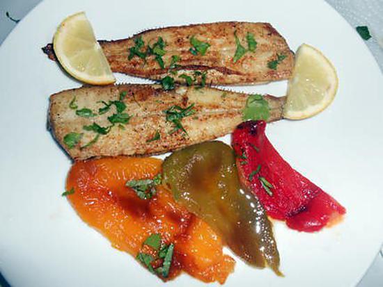 Recette de petites soles grillees et poivron en salade - Salade de poivron grille ...