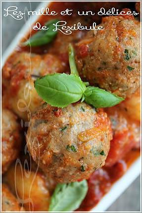 recette ~Boulettes de veau, sauce aux tomates braisées~