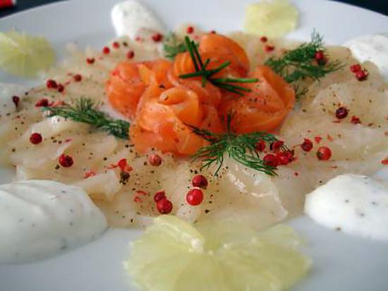 recette Carpaccio de Saint Jacques aux baies roses et fleurs de saumon - Minceur