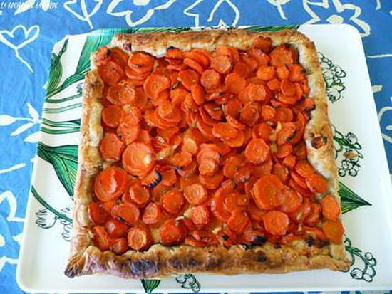 recette tarte aux carottes nouvellesà la mimolette, gingembre et miel,