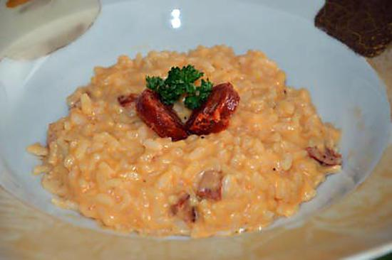 recette de risotto au chorizo par lefestindeslutins. Black Bedroom Furniture Sets. Home Design Ideas