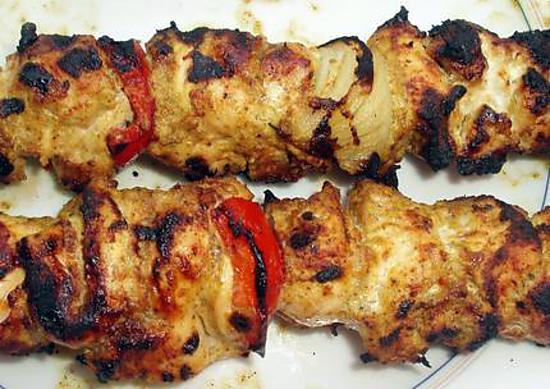 recette Brochettes de poulet à l'indienne*