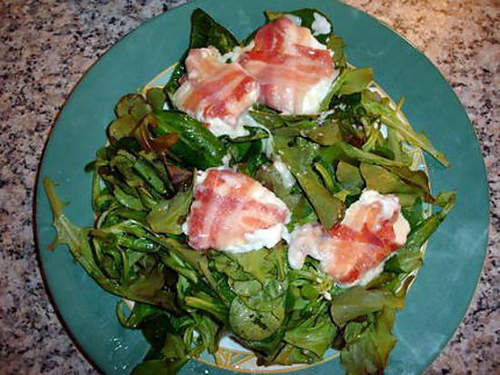 recette simple salade chèvre lard