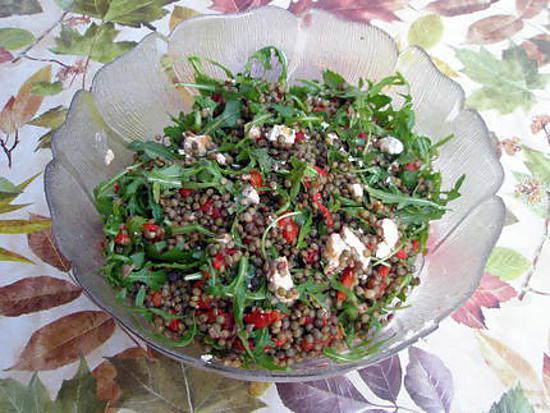 recette Salade de lentilles,chèvre et roquette