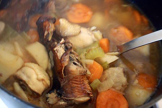 recette Soupe de bouffis et poulet , légume