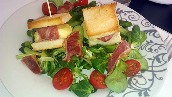 Recette de salade et ses toast de crotin de chevre enlard for Salade en entree originale