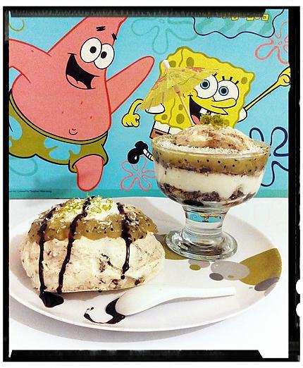 recette verrine de meringue exotique (  crème coco citron vert et gelée de kiwi )
