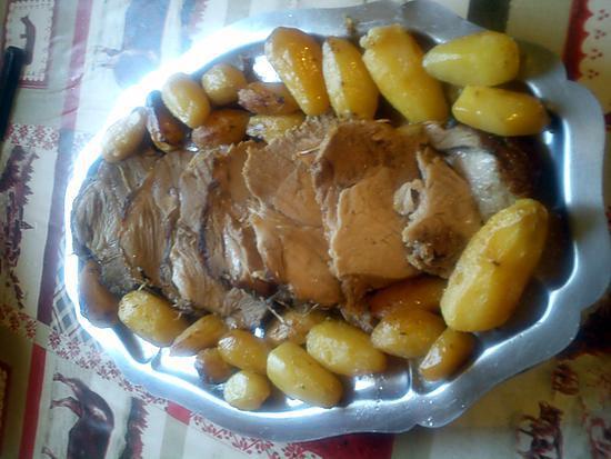 recette de r ti de porc au thym avec petites pommes de terre grenaille au four. Black Bedroom Furniture Sets. Home Design Ideas