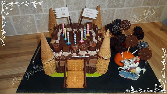 recette Layer cake Kinder version château-fort