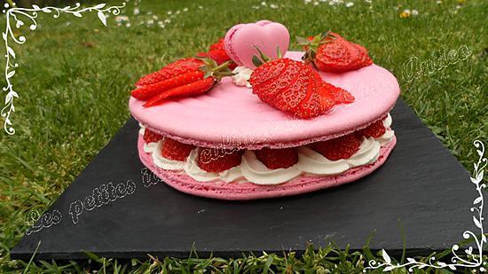 recette Macaron géant aux fraises