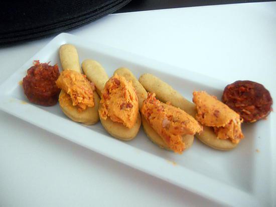 recette Cuillères de pate brisée au paprika a la creme de chorizo