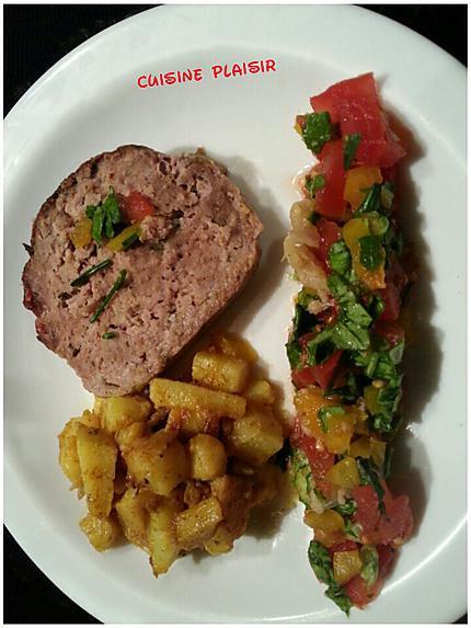 recette Pain de viande, Pdt rissolées et légumes crus