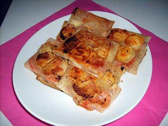recette Bricks jambon cru/tomate/chèvre