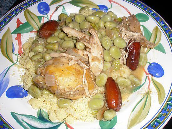 recette Tajine de poulet aux fèves et aux dattes