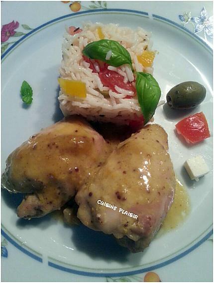 Recette de filets de cuisses de poulet glac s au miel et moutarde - Cuisse de poulet au four moutarde ...