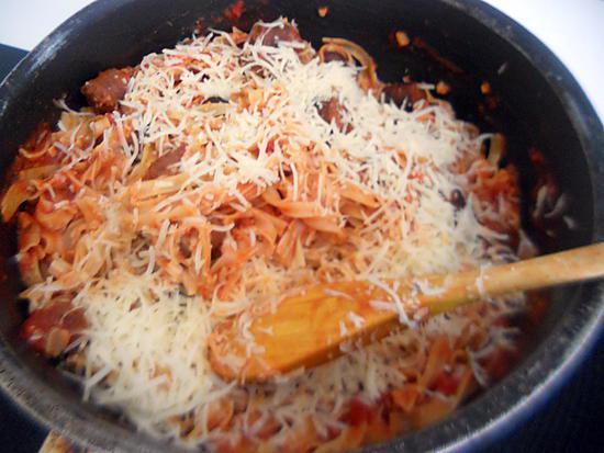 recette Pate sauce bolognaise de merguez