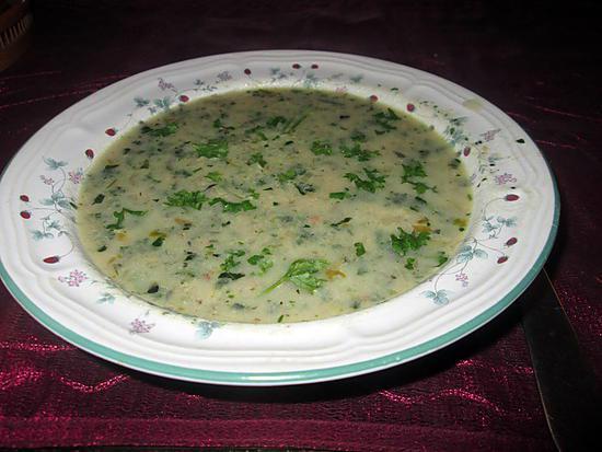 recette potage oseille  courgette  persil