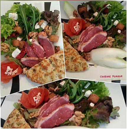 recette Salade au magret de canard fumé