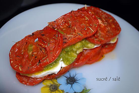 recette de mille feuille tomate mozzarella pesto au basilic. Black Bedroom Furniture Sets. Home Design Ideas