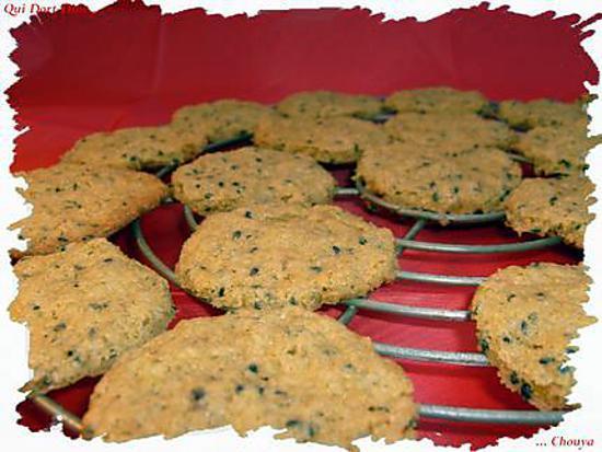 recette Ooo Cookies au sésame noir & gingembre confit ooO