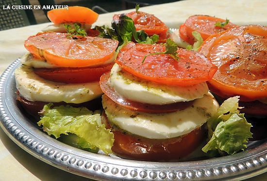 recette Mille-feuilles tomate mozzarella pistou
