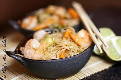 recette Nouilles aux crevettes franco-thaï