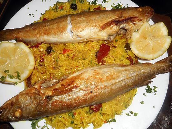 Recette de merlan au riz oriental - Cuisiner la lotte a la poele ...