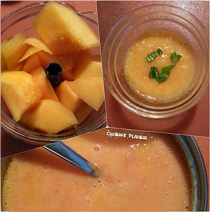 recette Gaspacho melon pêche tomate
