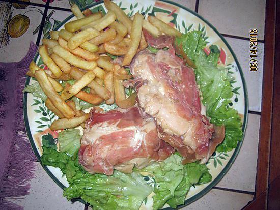 recette Filets de poulet , coeurs de féta en robe de jambon de Vendée