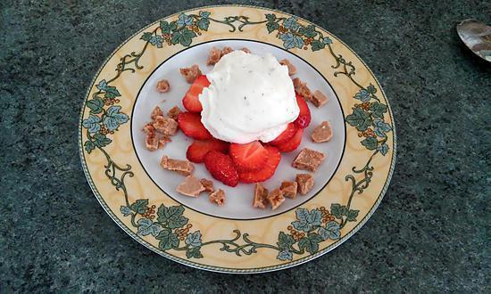 recette Sorbet citron-basilic sur lit de fraises , craquants spéculos