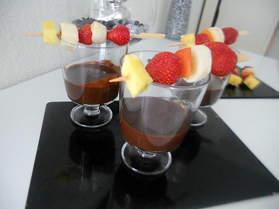 recette Brochettes de fruits & fondue au chocolat
