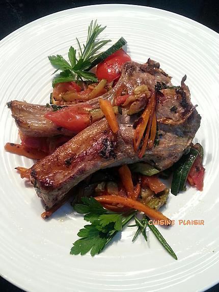 recette Côtes d'agneau sur poêlée de légumes