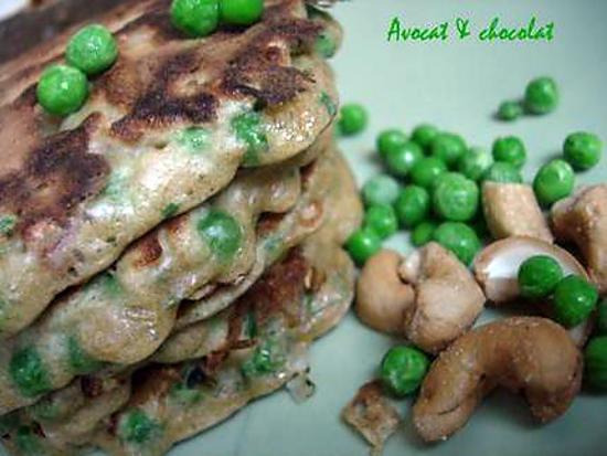 recette ** Pancakes à la farine complète , aux petits pois & aux noix de cajou**