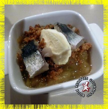 recette Compote d'aubergine à la cardamome en crumble sardines marinées