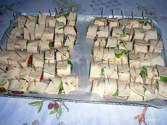 apro sympa et sans cuisson avec des wraps de thon au fromage et de poulet au guacamole - Canapes Aperitif Originaux