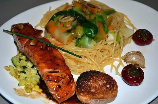 Recette de pave de saumon marine miel et soja - Comment cuisiner pave de saumon ...