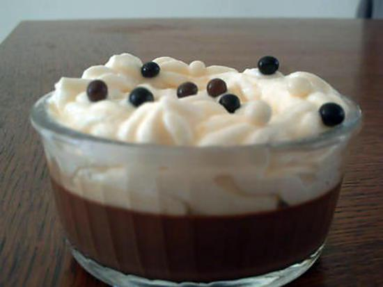 recette DUO DE MOUSSE AUX POIRES SUR PANNA COTA CHOCOLATEE