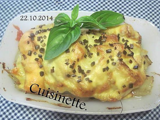 recette Saucisses fumées au blette. champignons. gratinés.