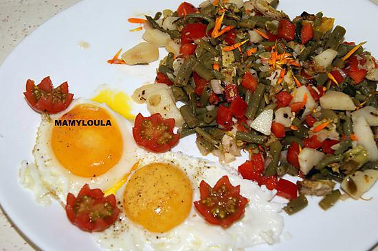 recette Haricots verts en salade aux pétales de soucis et oeufs sur le plat