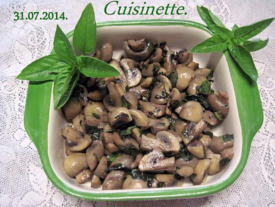 recette Champignons au beurre basilics.