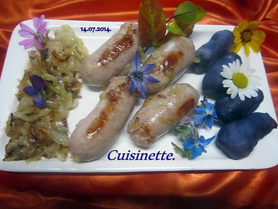 recette Saucisses de Toulouse aux p de terre vitelottes.