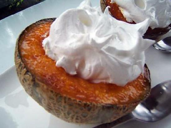recette Melon rôti meringué